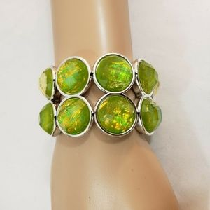 Women Green and Silver Circle Stretch Bracelet